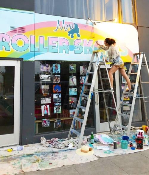 Signage by Celeste Byers seen at Moxi Roller Skate Shop, Los Angeles - Moxi Skate Shop
