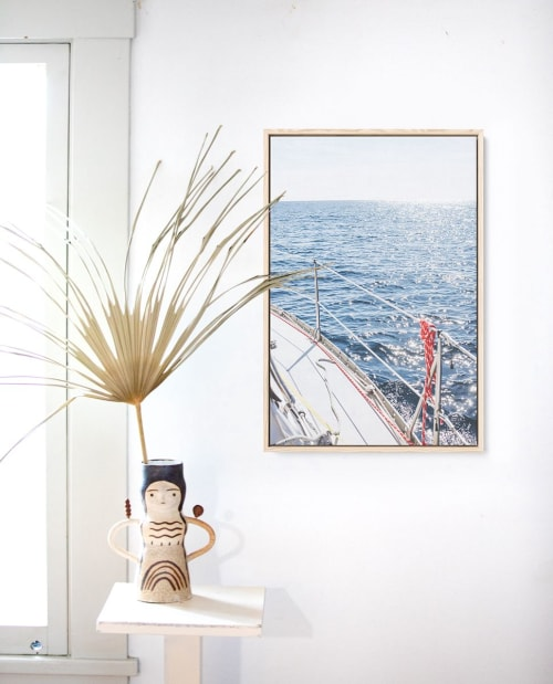 Ocean print and plant