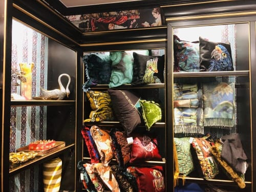 Pillows by Carola Van Dyke Studio seen at Bergdorf Goodman, New York - Embroidered pillows on dyed hide