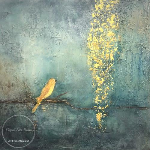 Paintings by Margaret Alice Høiesen seen at Creator's Studio, Stavanger - The golden bird in the golden rain