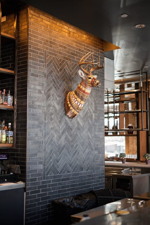 Sculptures by Cassandra Smith at Hewing Hotel, Minneapolis - Hand-painted Deer