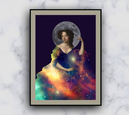 Wall Hangings by MELISE FLORES seen at Private Residence, Porto Alegre - Female classic woman figure in a galaxy dress