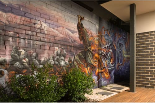 Murals by Set It Off Murals seen at Private Residence, Ormond - Tabmow Dragon