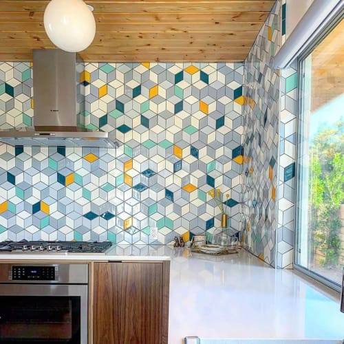 Tiles by Mercury Mosaics seen at Private Residence, Palm Springs - Medium Diamonds
