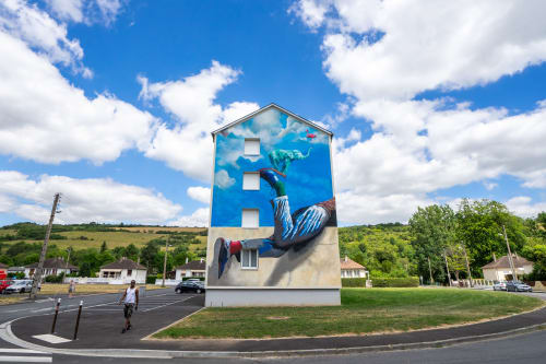 Street Murals by Arnaud Liard seen at Les Andelys, Les Andelys - Soyons Curieux