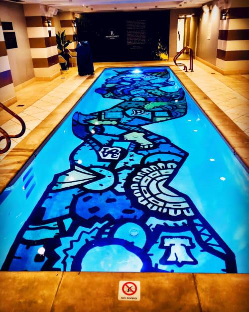 Murals by Alloyius Mcilwaine Art seen at 401 Chestnut St, Philadelphia - Renaissance Hotel Pool Mural