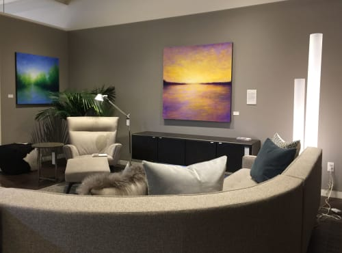 Paintings by Victoria Veedell seen at Room & Board, San Francisco - Monday Sunset