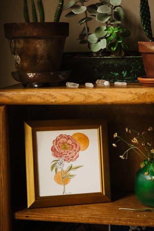 Paintings by Jillian Selene Art seen at Private Residence, Tulsa - Lace Moth & Peony