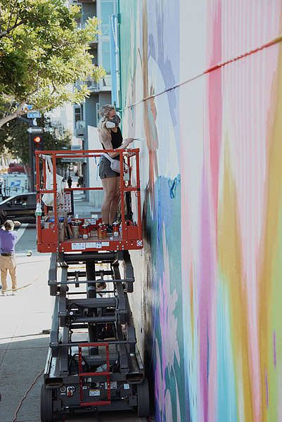 Street Murals by Flox seen at Park Boulevard & C Street, San Diego - The Migration