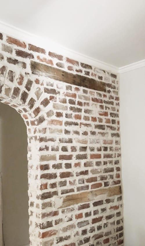 Wall Treatments by EMILY POPE HARRIS ART seen at The Inns Charleston, Charleston - Custom Brick Wall with Reclaimed Wood