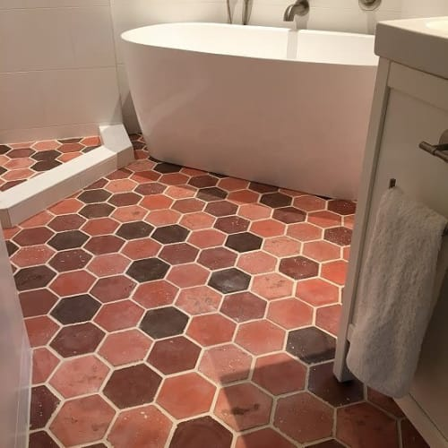 Tiles by Avente Tile seen at Private Residence, Durham - Hexagon cement Tile