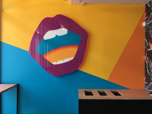 "Paintings by ANTLRE - Hannah Sitzer seen at Mateo's, San Francisco - ""Lips"""