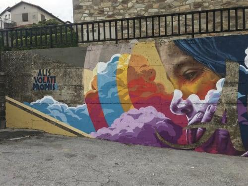 """Street Murals by Jabi """"Corte"""" Landa-Blanco seen at Salvatierra de Esca, Salvatierra de Esca - Alis Volati Propis"""