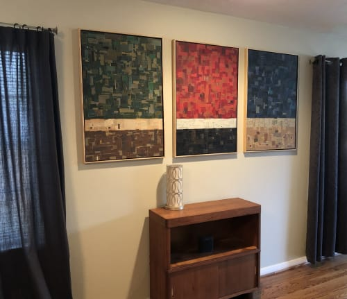 Art & Wall Decor by Glen Gauthier, Street Fair Studios seen at Private Residence, Dallas - RGB, paper collage triptych on masonite