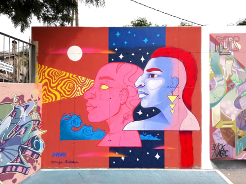 Murals by Maga Artwork seen at El Masnou, El Masnou - Daughters of the Moon