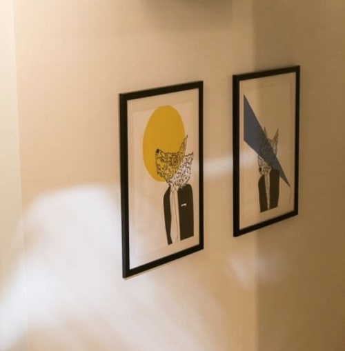 Paintings by Marcos Carvalho seen at TechSpace Union Square NYC Coworking Space, New York - Wolf in Men's Clothing 1 & 2