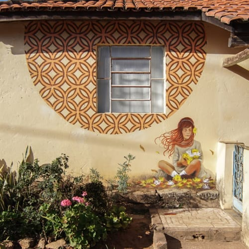 Murals by Comum seen at Private Residence, Itatiaia - Flower Girl