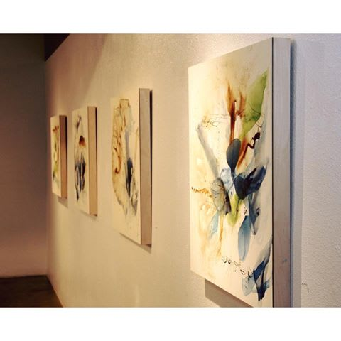 "Paintings by Ana Zanic at Private Residence, Boulder - Abstract Watercolors on Panel, ""Reverie"" I and II, 30""x30"""