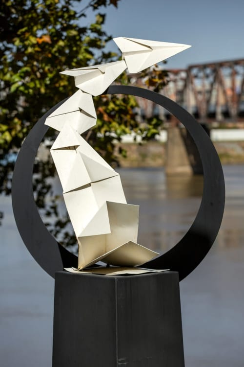 Public Sculptures by KevinBoxStudio. seen at Little Rock River Market, Little Rock - Plane Folding