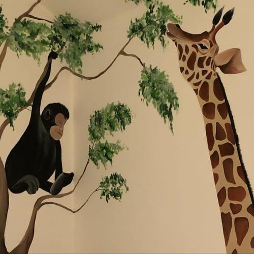 Murals by Louise Dean - Artist seen at Private Residence, Riverhead - Giraffe and Gorilla Mural