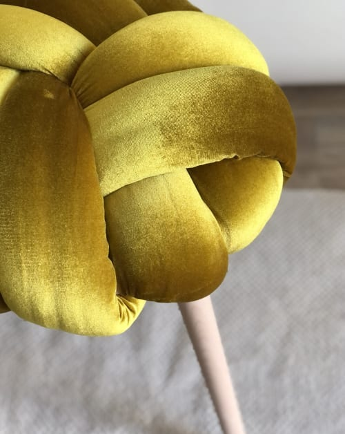 Yellow Gold Velvet Knot Stool   Chairs by Knots Studio