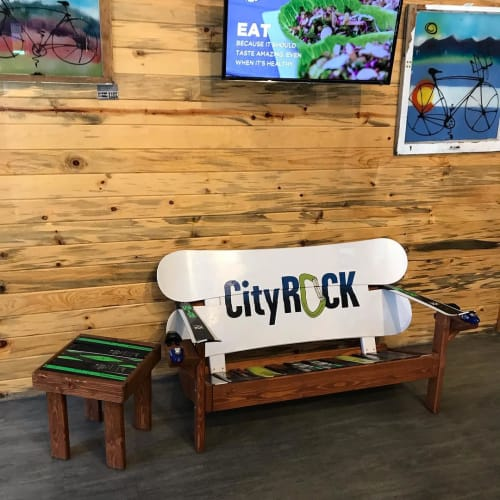 Benches & Ottomans by Colorado Ski Chairs seen at CityROCK, Colorado Springs - Custom Logo Ski and Snowboard Bench