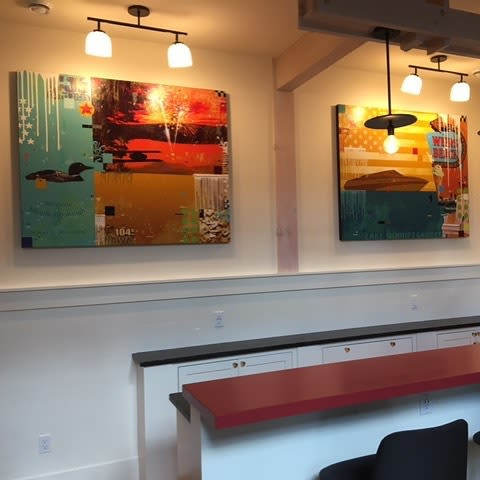 "Paintings by Mark Andrew Allen seen at Private Residence - Glasses Boat ""Raise a Glass"""