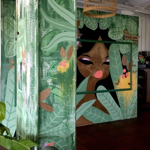 Murals by pepallama seen at Selina Manuel Antonio, Quepos - Jungle Girl