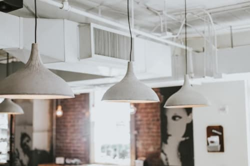 Lighting by Steel + Plank at Atwoods Pizza Cafe, Atlanta - Custom Concrete Light