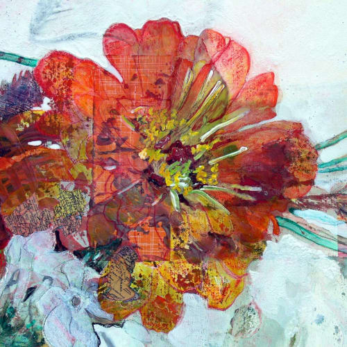Paintings by Maryann Hendriks seen at Creator's Studio, Cambridge - Dahlia and Zinnia Painting