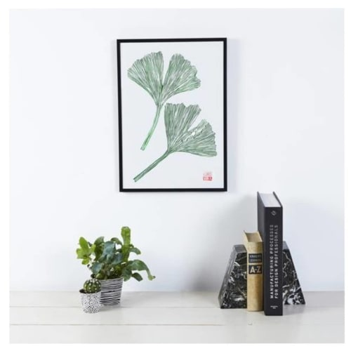 Wall Hangings by Wald seen at Private Residence, Leeds - Ginkgo Lino Print