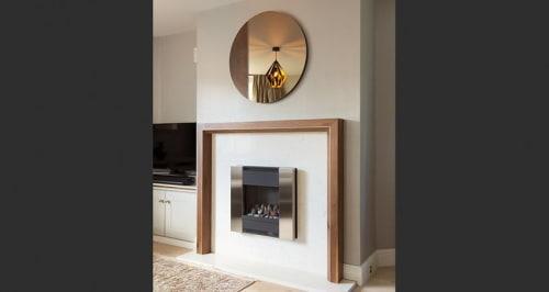 Art & Wall Decor by Martin Gallagher Furniture seen at Private Residence, Sligo - Walnut Fire Surround and Burr walnut Segment mirror