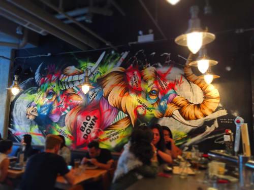 Murals by Taka Sudo seen at Bao Down OV, Vancouver - Bao Down OV Mural