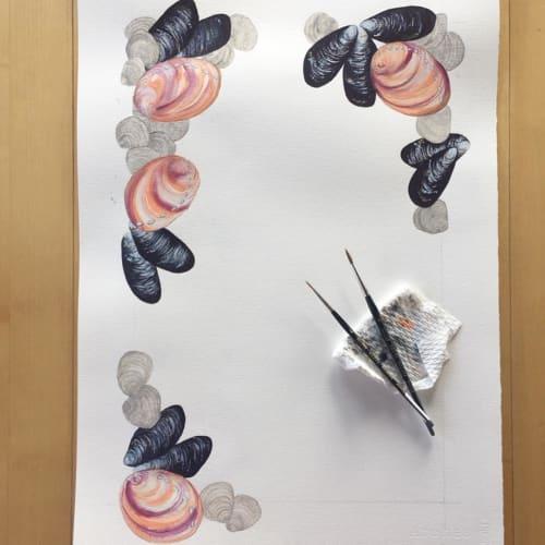 Paintings by Sophie Tivona Illustration seen at Waterbar Restaurant, San Francisco - Menu Illustration Art