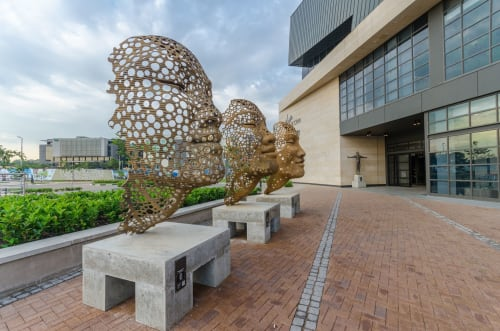 Public Sculptures by Anton Smit seen at Menlyn Maine Central Square, Pretoria - Stream of Consciousness