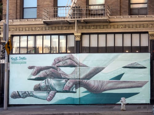 Murals by RATUR (Arthur Maslard) seen at 1AM SF, San Francisco - Catch Me If You Can