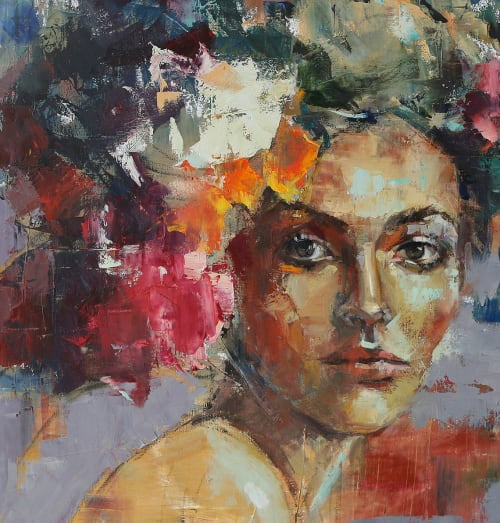 Paintings by Julia Klimova seen at Hotel Bella Grace, Charleston - Blooming Mind painting