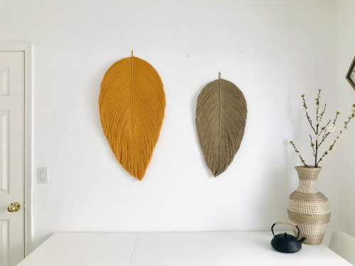 Set of Giant and XL fiber art leaf Sculpture- MIXED LEAF | Macrame Wall Hanging by YASHI DESIGNS
