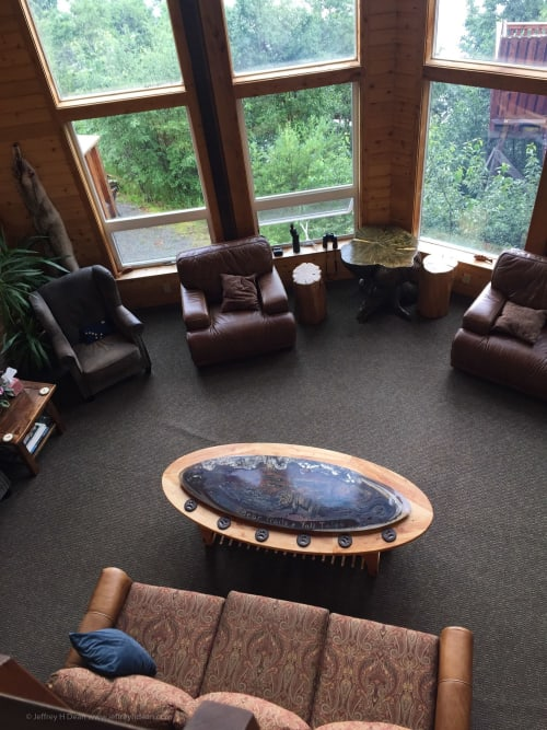 Tables by Jeffrey H Dean seen at Bear Trail Lodge, King Salmon - Bear Trails and Tall Tales - Decorative Coffee Table