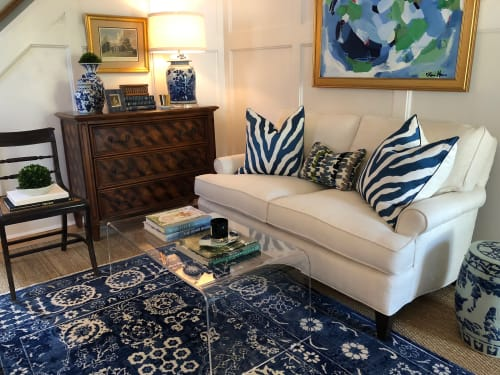 Rugs by S&H Rugs seen at Private Residence, Bethesda - Transitional Design Blue Tone on Tone Oriental Rug