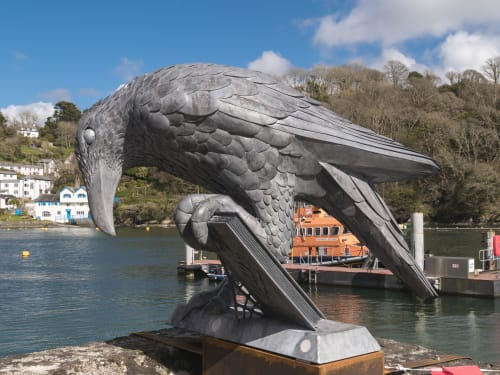 Public Sculptures by Thrussells seen at Fowey, Fowey - Rook With A Book Sculpture