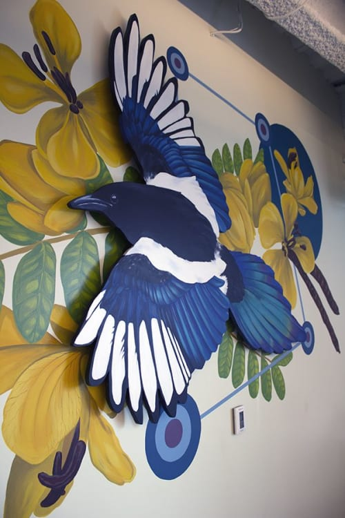 Murals by Sophy Tuttle seen at Corvus Insurance, Boston - Corvus Magpie