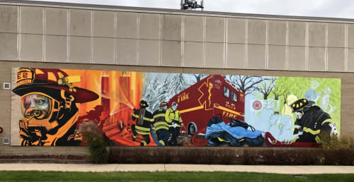"""Murals by Cyd Smillie seen at Private Residence, Niles - """"Out of the Fire"""" mural"""