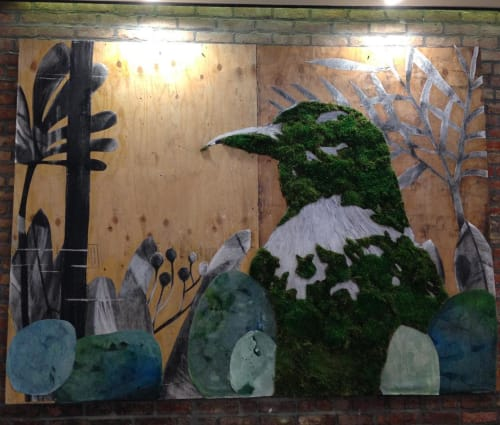 Murals by Mosstika seen at Fox and Jane Salon, Brooklyn - Moss On Plywood