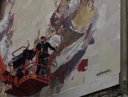 Street Murals by Gonzalo Borondo seen at Aiztogile Kalea, Vitoria-Gasteiz - Wall Mural