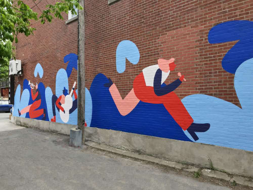 Street Murals by Cecile Gariepy seen at Villeray, Montreal - Green Alley Mural