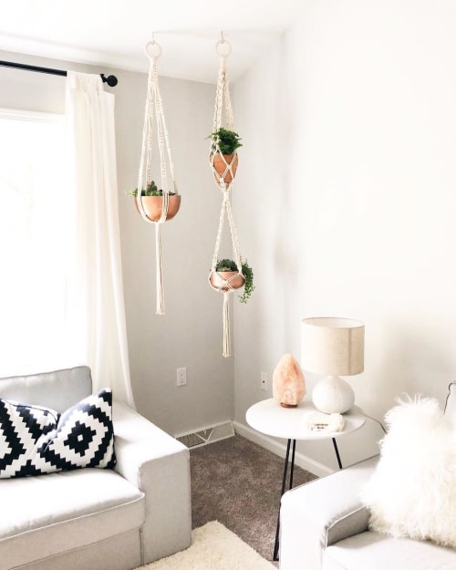 Macrame Wall Hanging by Holm Made Macrame by Angela Holm seen at Private Residence, Las Vegas - Macrame Plant Hangers