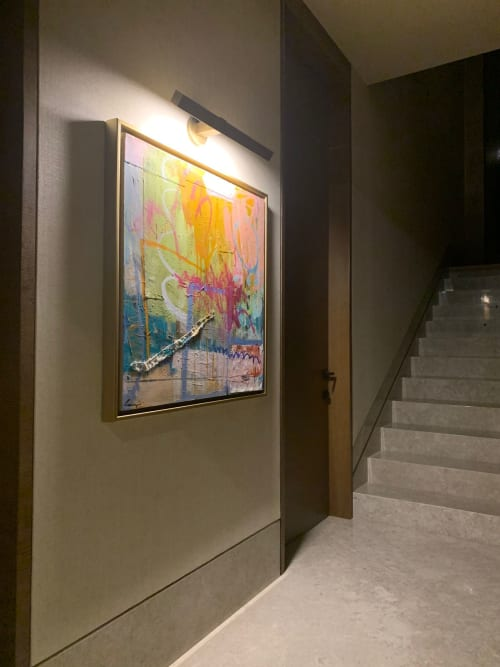 """Paintings by Lesley Grainger seen at Private Residence - 36x36"""" Original abstract painting"""