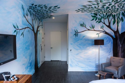 Murals by Laura Hollick seen at NU Hotel, Brooklyn - Trees of NU York