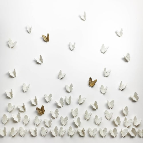 Art & Wall Decor by Elizabeth Prince Ceramics seen at Creator's Studio, Manchester - Extra Large Butterflies Wall Art Set of 60